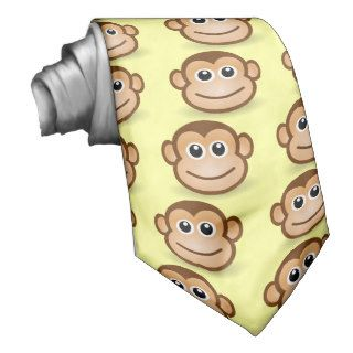 Cute Cartoon Happy Monkey Face Ties