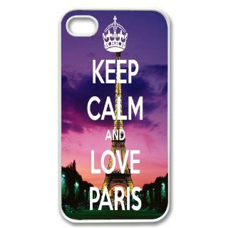 Apple iPhone 4 4G 4S Eiffel Tower Cute Keep Calm and Love Paris Design WHITE Sides Case Skin Cover Protector Accessory Vintage Retro Unique Comes in Case Cartel Packaging Cell Phones & Accessories