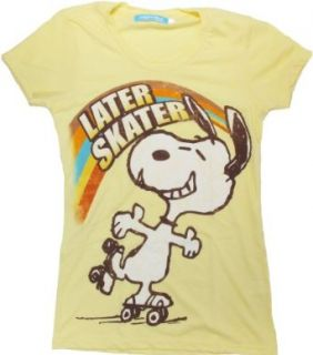Peanuts Snoopy Later Skater Women's T Shirt (Large) Novelty T Shirts Clothing
