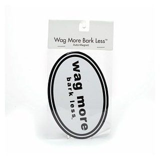 Wag More Bark Less Auto Car Refrigerator MAGNET   White background with Black Font Grocery & Gourmet Food
