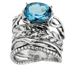 Or Paz Sterling Textured 3.15ct London Blue Topaz Ring —