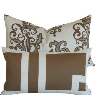 "Modern Classic Collection   Vicki Payne for Free Spirit's Designer 12x20"" Lumbar Boutique Throw Pillow with Feather Insert   Geometric/square Elements and Scrolls   Ivory, Cream, Taupe and Brown   1 Pillow, 2 Looks"