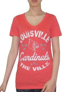 NCAA Louisville Cardinals Womens T Shirt with Rhinestones (Vintage Look)  Sports & Outdoors