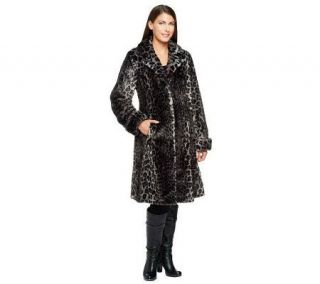 Dennis Basso Platinum Collection Leopard Print Faux Fur Coat —
