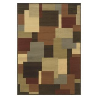 Contemporary Squares Area Rug   Brown