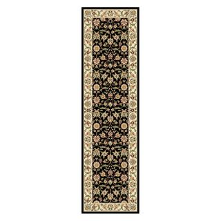 Lyndhurst Collection Traditional Black/ivory Runner Rug (23 X 8)