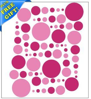 Set of 251 Hot Pink and Pink Circles Polka Dots Vinyl Wall Decals Stickers + with Free Sticky Notepad [Peel and Stick Graphic Mural Decal Circle Dot Kit Appliques]   Wall Decor