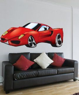 Vinyl Wall Decal Sticker Ferrari Car Color size 36inX82in item JH254B   Wall Decor Stickers