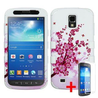 SAMSUNG GALAXY S4 ACTIVE I537 PINK WHITE CHERRY BLOSSOM FLOWER HYBRID COVER HARD GEL CASE +FREE SCREEN PROTECTOR from [ACCESSORY ARENA] Cell Phones & Accessories
