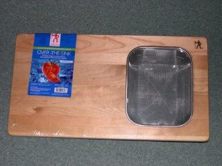J. A. Henckels Premium Over the Sink Wood Cutting Board with Stainless Steel Strainer Basket Kitchen & Dining
