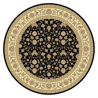 Lyndhurst Collection Traditional Black/ Ivory Floral Rug (8 Round)