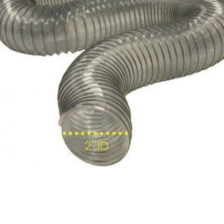 "PVC Flexduct (Light Duty) Clear   Vent Hose   2"" ID x 25ft Length Hose (Fully Stretched) Duct Hoses"