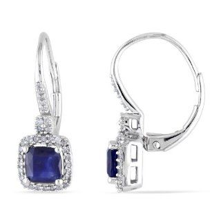 10K White Gold Diffused Sapphire and Diamond Leverback Earrings (.2 Cttw, G H Color, I1 I2 Clarity) Jewelry