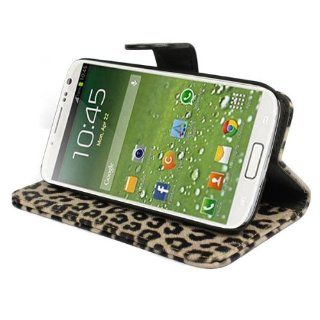 amtonseeshop Brown Leopard Wallet Leather Case Stand for Samsung Galaxy S4 Iv I9500 Cell Phones & Accessories