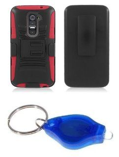 Black and Red Dual Layer Hybrid Kickstand Case + Swivel Belt Clip Holster + Atom LED Keychain Light for LG G2 (Verizon, AT&T, Sprint, T Mobile) Cell Phones & Accessories
