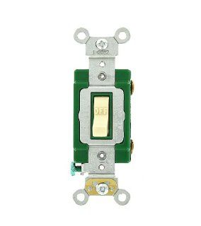 Leviton 3031 2I 30 Amp, 120/277 Volt, Toggle Single Pole AC Quiet Switch, Extra Heavy Duty Grade, Self Grounding, Ivory   Wall Light Switches
