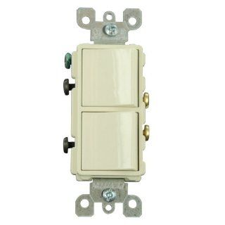 Leviton 5634 A 15 Amp, 120/277 Volt, Decora Brand Style Single Pole, AC Combination Switch, Commercial Grade, Grounding, Almond   Wall Light Switches