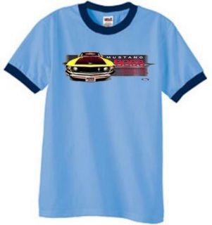 Ford Yellow Mustang Shirt   Boss 302 Mens Ringer Tee   Blue/navy at  Men�s Clothing store