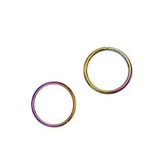 "316L Surgical Steel Rainbow Annealed Split Ring Captive Bead Rings Nose Hoop Rings   20g 3/8"" Length   Sold As Pairs Jewelry"