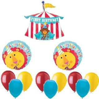 CIRCUS Monkey TENT Big TOP #1 1st Happy Birthday PARTY Mylar Latex BALLOONS Set Health & Personal Care