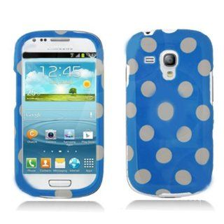 Aimo SAMI8190PCPD302 Cute Polka Dot Hard Snap On Protective Case for Samsung Galaxy S3 Mini   Retail Packaging   Light Blue/White Cell Phones & Accessories