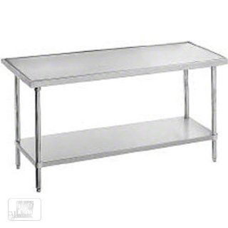 "Advance Tabco VSS 240 30"" Work Table   Undershelf, Non Drip Edge, 24"" W, 14 ga 304 Stainless Top, Each Kitchen & Dining"