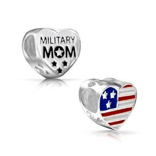Bling Jewelry Patriotic Sterling USA Flag Military Mom Heart Bead Fits Pandora Jewelry
