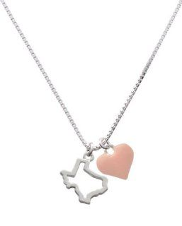 Texas Outline and Pink Heart Charm Necklace [Jewelry] Jewelry