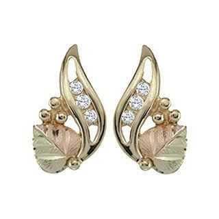 Black Hills Gold 10K Diamond Earrings Stud Earrings Jewelry