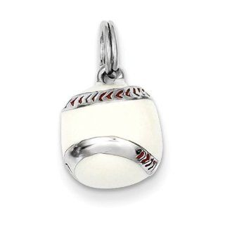 Sterling Silver 3 D Enamel Baseball Charm, Charms for Bracelets and Necklaces Jewelry