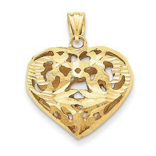 14K Yellow Gold Fancy Heart Charm Pendant 26mmx22mm Jewelry