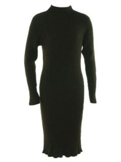Lauren Ralph Lauren Women's Mock Neck Ribbed Sweater Dress Maiden Brown 1X