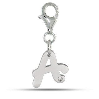 Script Initial Letter A With Crystal In Rhodium Plated Sterling Silver Clip On Charm Jewelry