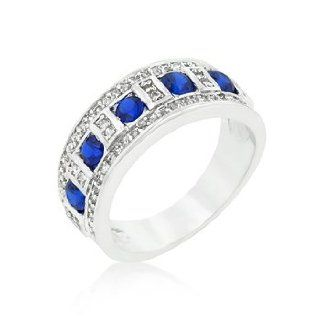 K Design Blue and Clear Encrusted Silver Tone Ring  Skin Care Product Sets  Beauty