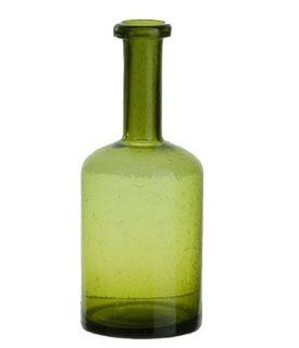 Green Glass Decorative Bottle for Flower Vases or Decorative, 10 inches