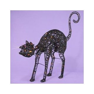"32"" Light Up the Night Lighted & Animated Black Cat Halloween Decoration   Yard Art"