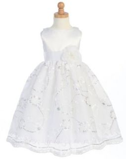 Lito Girls White Satin Tulle Floral Flower Girl Easter Dress 2T  Special Occasion Dresses  Baby