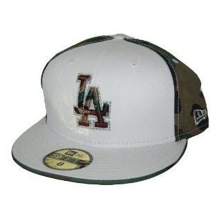 New Los Angeles Dodgers Custom New Era Official Fitted Hat   White / Camo 7 3/4  Sports Fan Baseball Caps  Sports & Outdoors