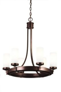 Kalco 4656BZ Espille   Six Light Chandelier, Bronze Finish with Cased White Glass