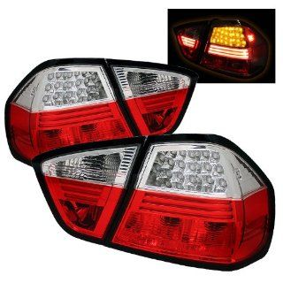 BMW E90 325i 328i 330i 335i 06 07 08 4DR LED Tail Lights + Hi Power White LED Backup Lights   Red Clear (Pair) Automotive