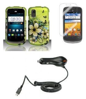ZTE Avail 2 (AT&T)   Accessory Combo Kit   Green Hibiscus Butterfly Flower Design Shield Case + Atom LED Keychain Light + Screen Protector + Micro USB Car Charger Cell Phones & Accessories