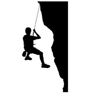 Rock Climbing Wall Sticker Decal 16   Sports Silhouette Decoration Mural   72 in. Black
