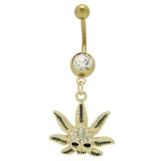 Gold Plated Dangle Pot Leaf Skull Head Belly Ring with Cz Gems Jewelry