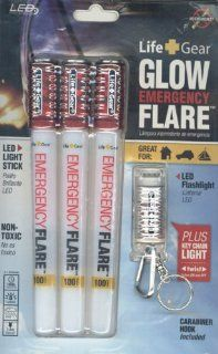 Life Gear LG322 Eco friendly Glow Emergency Road Flares, White/Red, 3 pack with LED Flashlight
