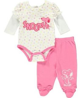"Peanuts ""Snoopy Happy Dance"" Baby Girls Newborn Bodysuit Pant Set, MULTI HEART PRINT /MED PINK, 3 Months Infant And Toddler Bodysuits Clothing"