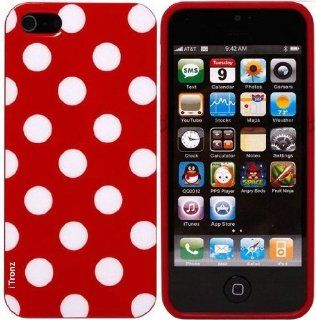 YIKING Red White Polka Dots Pattern Soft Candy Skin TPU Gel Case Cover Faceplate For Apple iPhone 5((AT&T, Verizon, Sprint) Cell Phones & Accessories