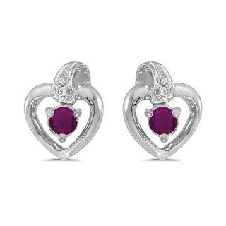 10K White Gold Round Ruby and Diamond Heart Shaped Earrings Jewelry