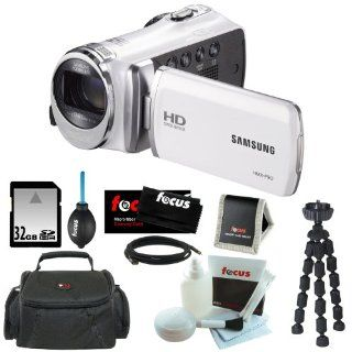 "Samsung HMX F90 5MP 1280x720 30p HD Camcorder in White + 32GB Secure Digital Memory Card + Deluxe SLR Soft Photo & Video Medium Case w/ Shoulder Strap & 2 Dividers + Memory Card Wallet + 5 Piece Cleaning Kit + Vivitar 7"" Mini Flexible Spider T"
