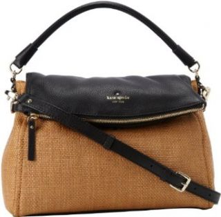 Kate Spade New York Cobble Hill Straw Little Minka PXRU4144 Satchel, Natural/Black, One Size Shoulder Handbags Clothing