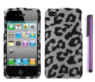 Apple Iphone 4, 4s Phone Protector Hard Cover Case Black Silver Leopard Design With Pry Tool And Touch Screen Stylus Pen (AT&T, Verizon, Sprint) Cell Phones & Accessories